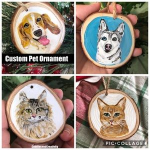 CUSTOM pet portrait ornament dog cat Christmas